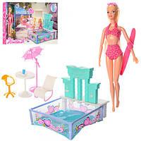 Мебель для куклы 66867, бассейн, столик, стульчик, кукла 29см, в кор-ке, 53-36-6см
