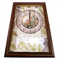 """Ключница с часами """"Оливки"""" массив дерева 30х20х6 см (30399C)"""