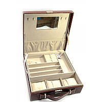 Шкатулка для бижутерии и часов с зеркальцем коричневая 26,5х26,5х9,5 см (25770B)