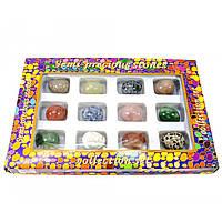 Яйца из полудрагоценных камней набор 12шт яйцо h-3 см d- 2.5 см упаковка 27х18х3,5 см (30832)