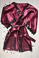 Нежный атласный халат с кружевом