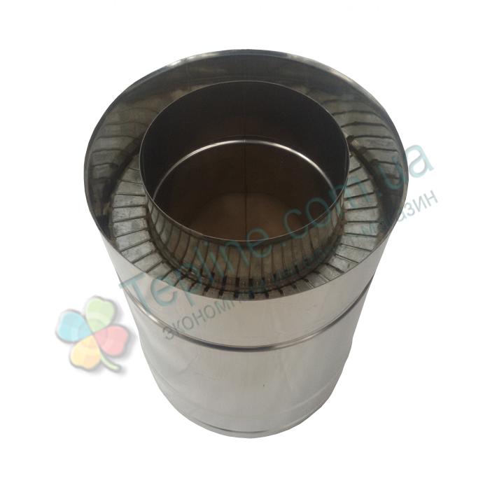Труба дымоходная сэндвич d 110 мм; 0,8 мм; AISI 304; 25 см; нержавейка/нержавейка - «Версия Люкс»