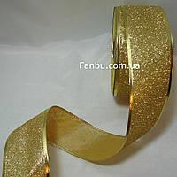 Новогодняя блестящая золотая лента с глитером для бантов с проволочным краем 1упаковка-50ярдов(ширина 6 см)