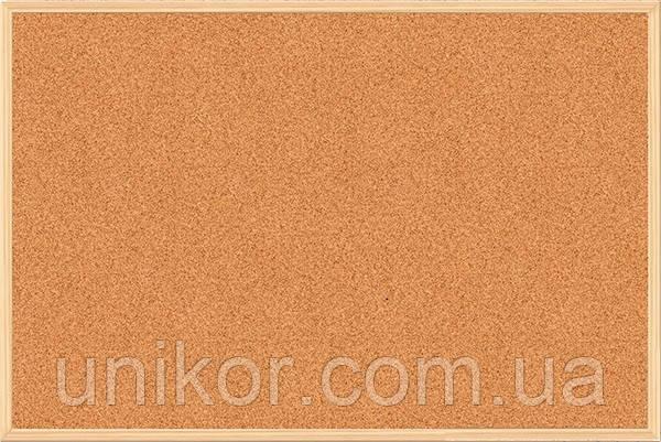 Доска пробковая, 90*120 см., деревянная рамка. BuroMax