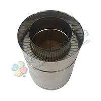 Труба дымоходная сэндвич d 250 мм; 0,8 мм; AISI 304; 25 см; нержавейка/нержавейка - «Версия Люкс»