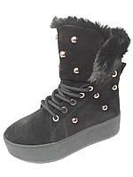 Замшевые зимние ботинки на натуральном меху