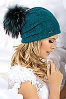 Модная женская шапка с меховым помпоном BATIS цикламен, фуксия