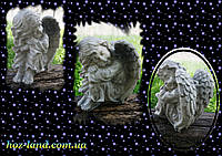 Скульптура из мрамора Ангел грустит №16 (серый) 24 см.