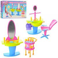 Мебель для кукол 2919 салон красоты, кресло, зеркало, умывальник, этажерка, аксессуары, в кор-ке, 32-20-5см