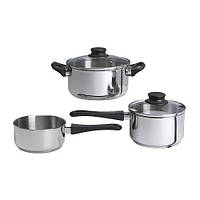 АННОНС Набор кухонной посуды, 3 предметa, стекло, нержавеющ сталь