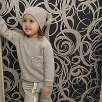 Костюм тройка ( джеггинсы+свитшот+шапка) байка  для девочек 3-7 лет(98-104-110-116-122-)