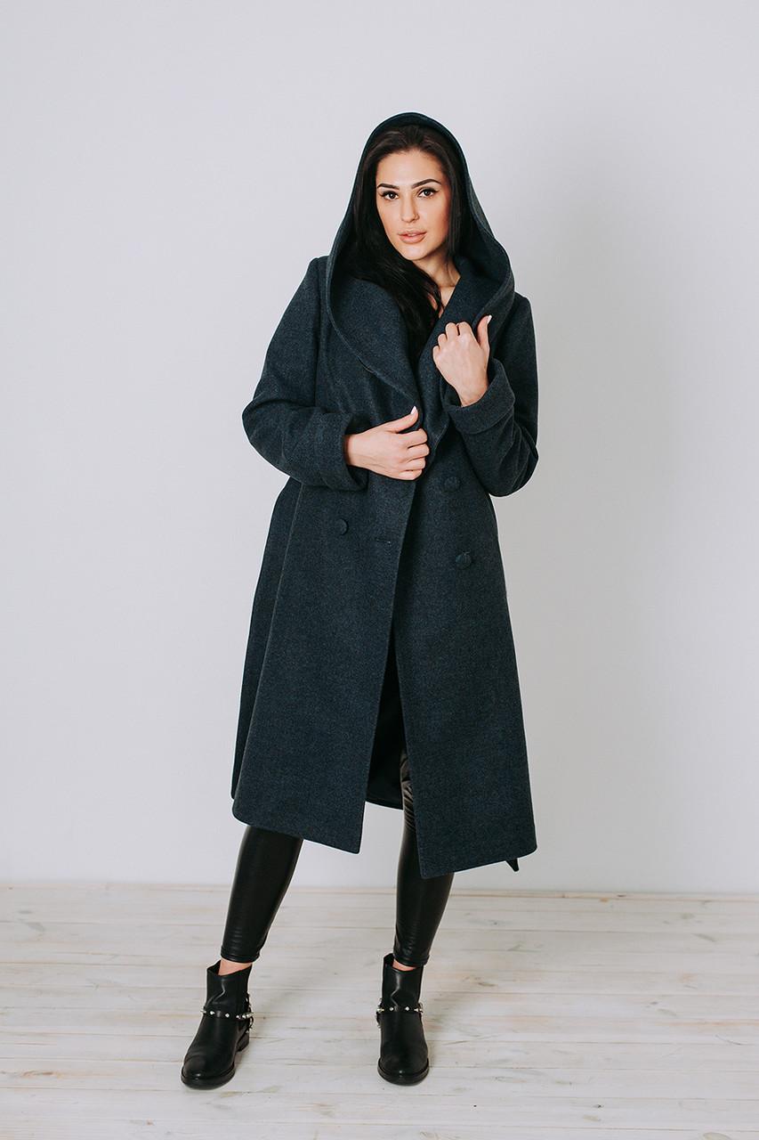 Пальто зимнее женское шерсть Д 308 синее