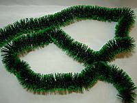 Новогодняя зеленая мишура, дождик со светло зелеными краями - d=5 см, длина около 2 м