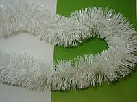 Новогодняя белая мишура, дождик d=7 см, длина около 2 м, фото 1
