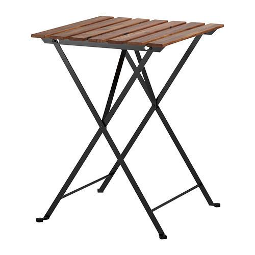 ТЭРНО Садовый стол, черный акация, сталь серо-коричневая морилка, 55x5