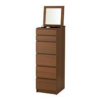 МАЛЬМ Комод  6 ящиков с зеркалом, коричневый ясеневый шпон