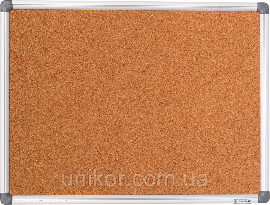 Доска пробковая, 60*90 см., алюминиевая рамка. BuroMax