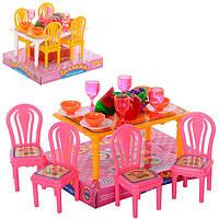 Столовая для кукол 967 стол, 4 стула, посуда, фрукты, в слюде, 13-11-9см.