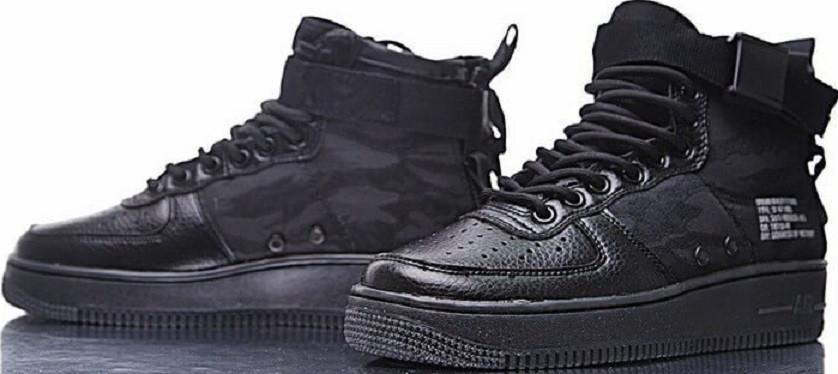cheap for discount 00107 5b394 Черные кеды Nike SF Air Force 1 Utility Mid All Black кожаные текстиль. -