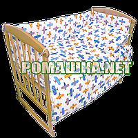 Набор в детскую кроватку из 6 предметов Самолет постель мягкие бортики большое одело 140х100 подушка 3859