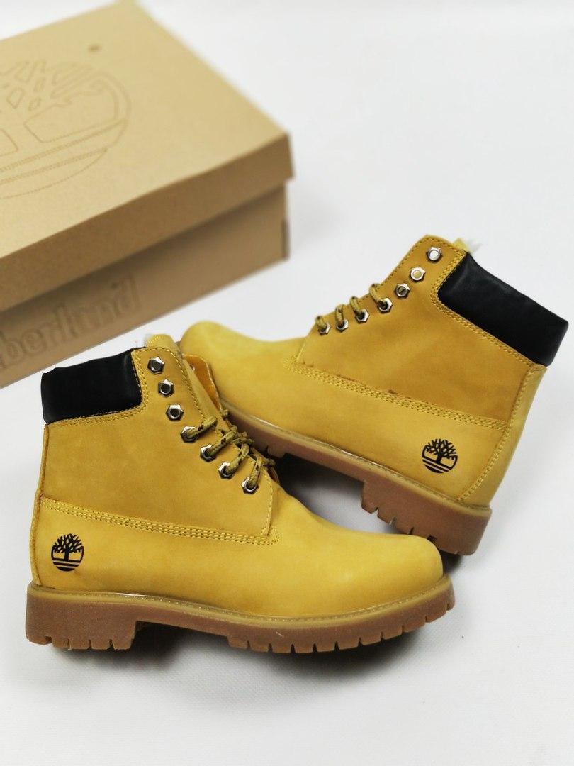 Женские ботинки Timberland на меху желтые топ реплика