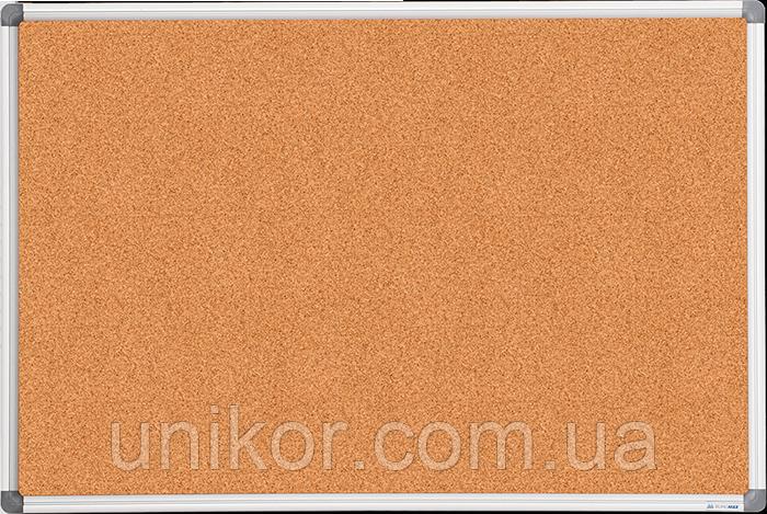 Доска пробковая, 90*120 см., алюминиевая рамка. BuroMax