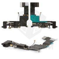Шлейф для мобильного телефона Apple iPhone 5S, коннектора зарядки, коннектора наушников, черный, с микрофоном,