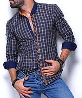 Стильная рубашка для мужчин в клетку синяя с бежевым