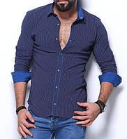 Стильная рубашка для мужчин на планке в синем цвете