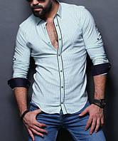 Стильная рубашка для мужчин на планке нежно-голубого цвете
