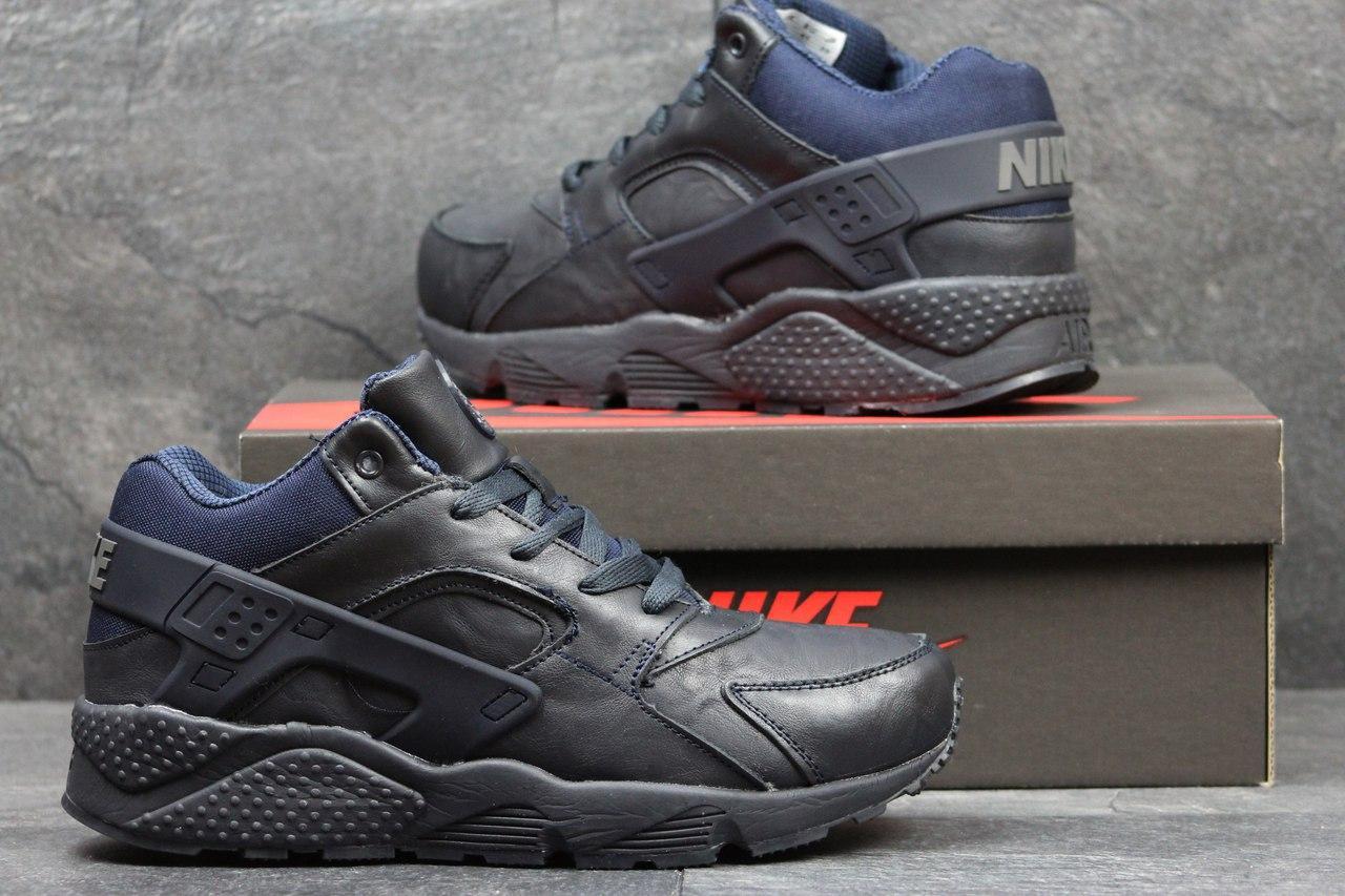 Высокие кроссовки Nike air Huarache,на меху,кожаные,темно синие