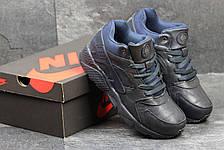 Высокие кроссовки Nike air Huarache,на меху,кожаные,темно синие, фото 3