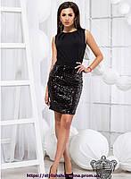 Элегантное платье с паетками 44, черный