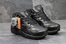 Высокие кроссовки Nike air Huarache,на меху,кожаные, черные, фото 3