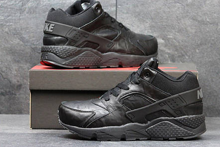 Высокие кроссовки Nike air Huarache,на меху,кожаные, черные, фото 2