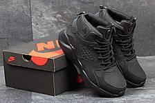 Высокие кроссовки Nike air Huarache,на меху,нубук,черные, фото 3