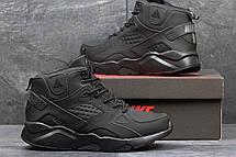 Высокие кроссовки Nike air Huarache,на меху,нубук,черные, фото 2