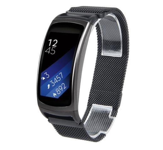 Міланський сітчастий ремінець Primo для фітнес браслета Samsung Gear Fit 2 / Fit 2 Pro (SM-R360 / R365) - Black L