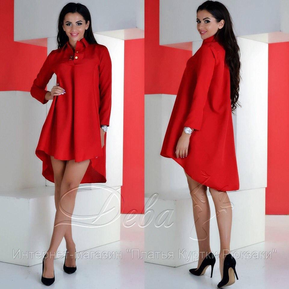 ad5a618aa5e Женское платье с длинным рукавом удлинённое сзади 4 цвета -  интернет-магазин
