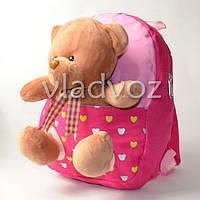 Детский рюкзак с мягкой игрушкой мишка розовый полосы