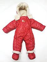Детский комбинезон трансформер для новорожденных зимний (красный в звездочку)