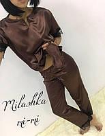Женская атласная пижами с кружевами