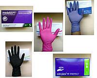 Перчатки одноразовые профессиональные: винил, нитрил, латекс