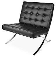Дизайнерское кресло Барселона черное, дизайн Mes van der Rohe, 78х80х80см