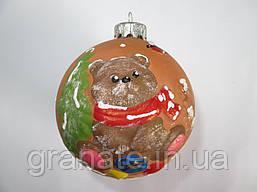 """Шар ёлочный из керамики """"Медведь"""" 10 см"""