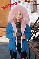 Женская зимняя парка из плотной джинсы на меху в разных цветах