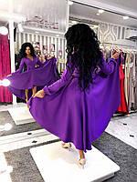 Женское пышное ассиметричное платье на запах с карманами и поясом 3 цвета