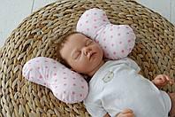 Подушка для новорожденных Бабочка, розовые звезды