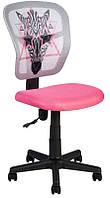 Детское компьютерное кресло ZEBRA pink, компьютерное кресло для девочки с подъемным механизмом и на колесах
