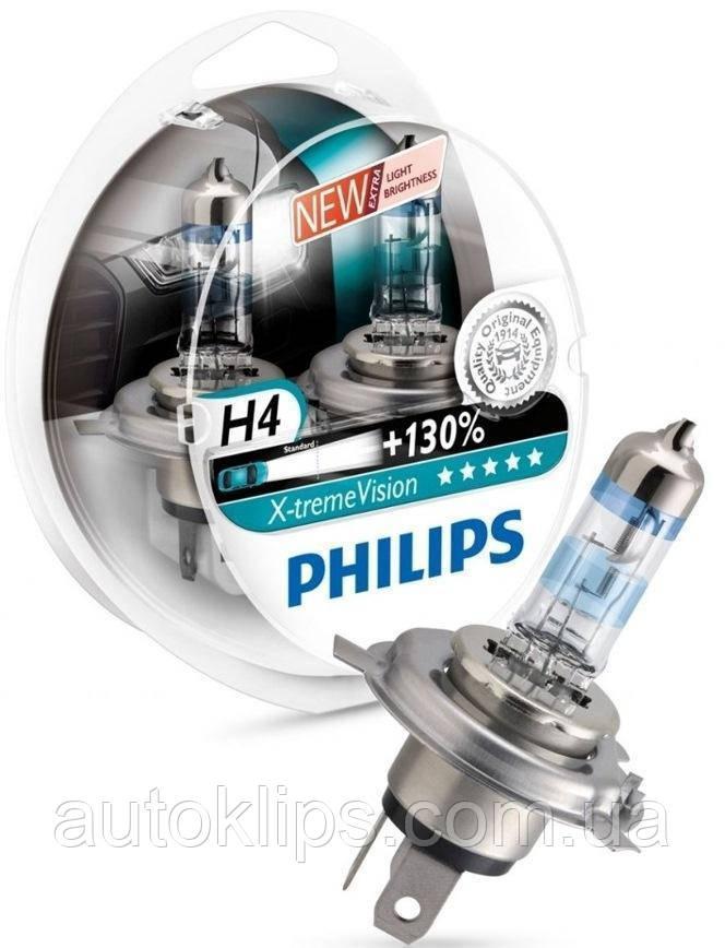 Лампа галогенная 12V H4 P43t 60/55W X-TREME VISION+130% PHILIPS
